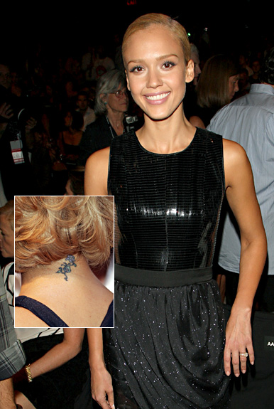 Hot mama Jessica Alba has a small lotus Sanskrit tattoo